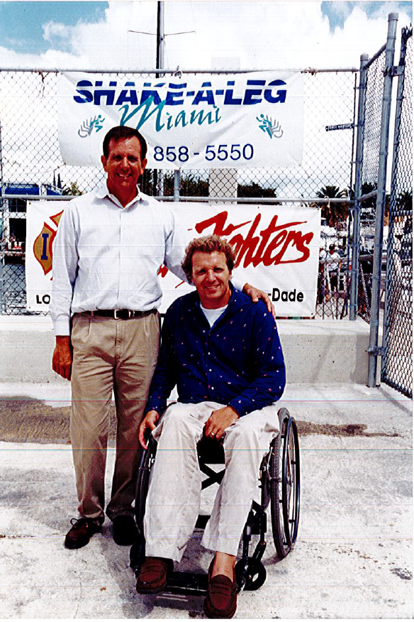 The reopening after a dock replacement in 1999- Horgan with Bill Mauk, one of the founding board members.