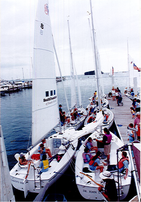 A group of youth going for a sailing outing in 1996